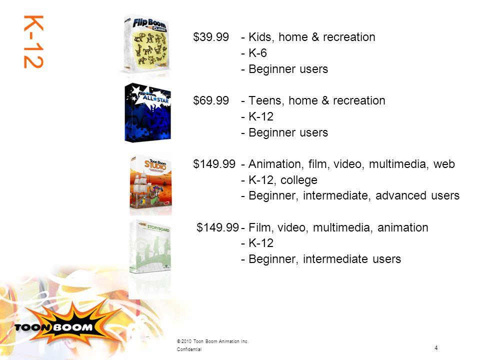 4 © 2010 Toon Boom Animation Inc. Confidential $39.99- Kids, home & recreation - K-6 - Beginner users $69.99 - Teens, home & recreation - K-12 - Begin