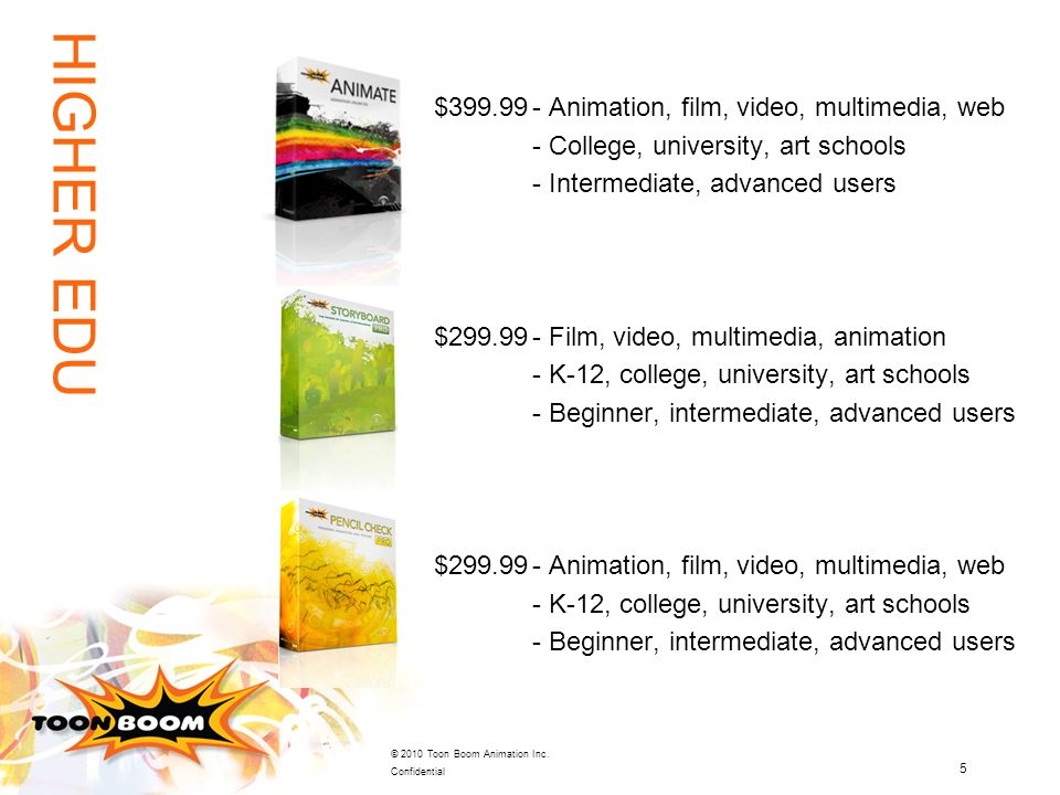 5 © 2010 Toon Boom Animation Inc. Confidential $399.99- Animation, film, video, multimedia, web - College, university, art schools - Intermediate, adv