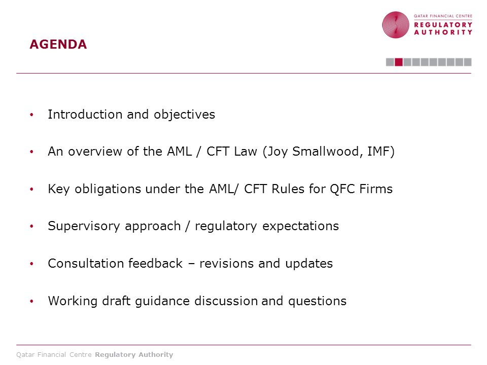 Qatar Financial Centre Regulatory Authority Overview of the AML/CFT Law A supervisory authority may sanction its licensees (financial institution, NPO, or DNFBP ) for a violation under the law, made intentionally or by gross negligence, by imposing one of the following measures and sanctions: (Article 44) (1) ordering regular reports on the measures it is taking.