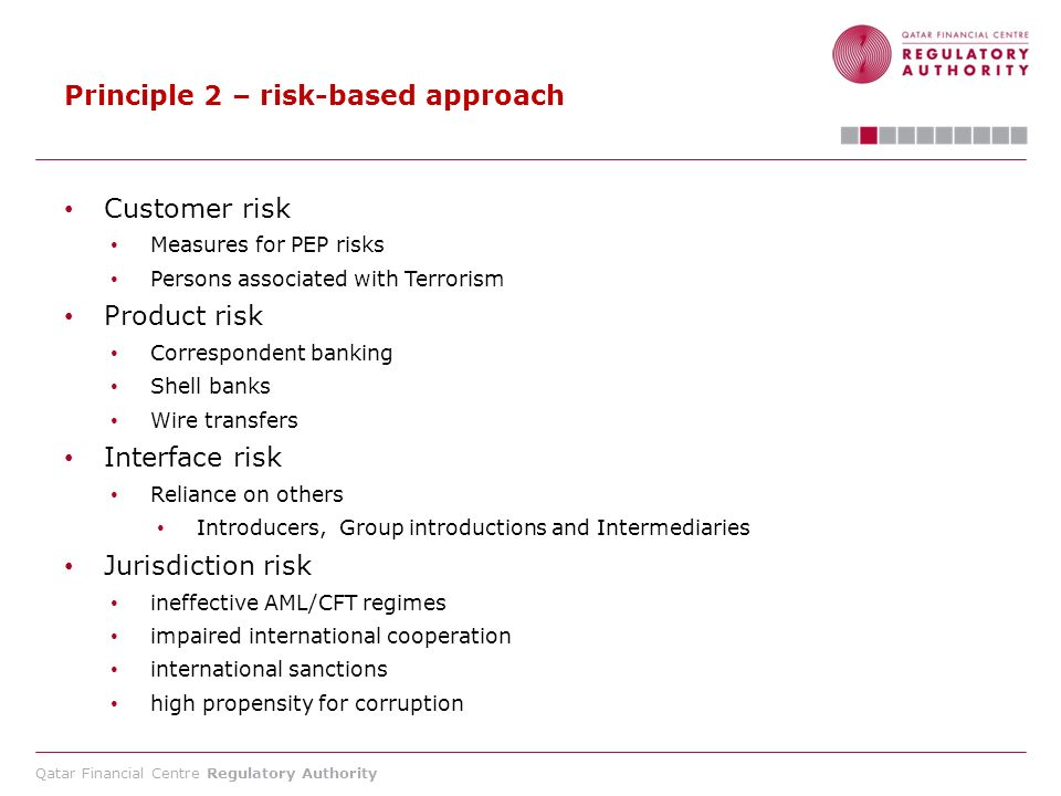 Qatar Financial Centre Regulatory Authority Principle 2 – risk-based approach Customer risk Measures for PEP risks Persons associated with Terrorism P