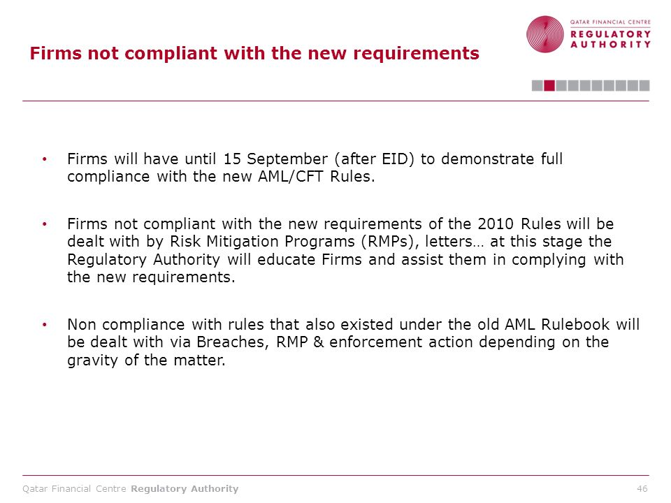 Qatar Financial Centre Regulatory Authority 46 Firms not compliant with the new requirements Firms will have until 15 September (after EID) to demonst