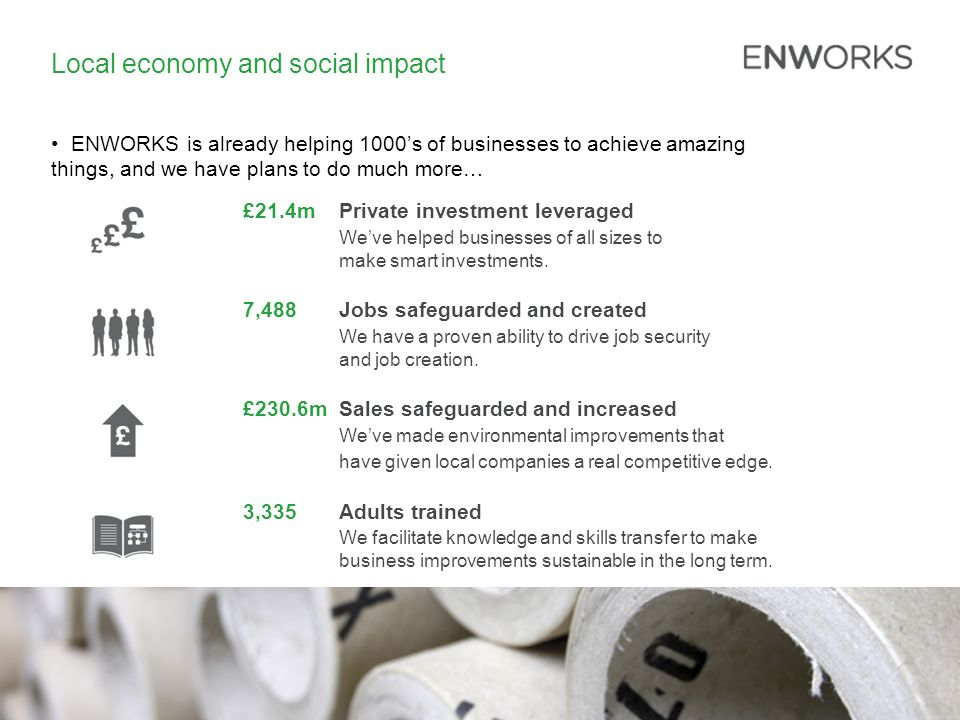 Local economy and social impact ENWORKS is already helping 1000s of businesses to achieve amazing things, and we have plans to do much more… £21.4mPrivate investment leveraged Weve helped businesses of all sizes to make smart investments.