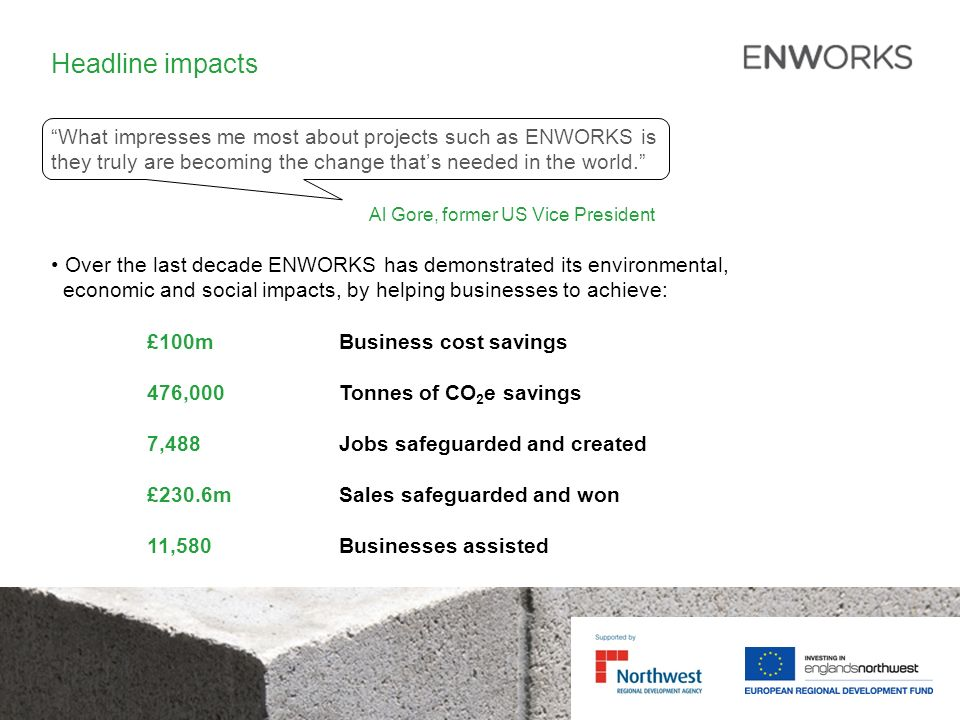 Headline impacts What impresses me most about projects such as ENWORKS is they truly are becoming the change thats needed in the world.