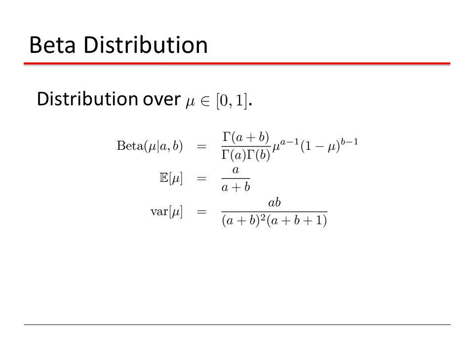 Beta Distribution Distribution over.