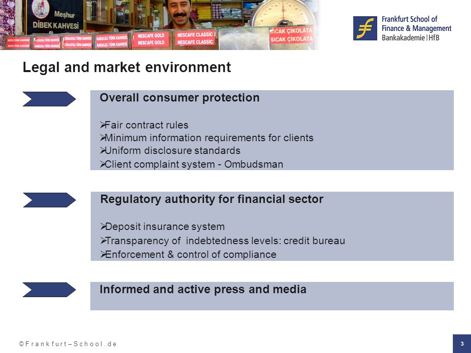 © F r a n k f u r t – S c h o o l. d e 3 Legal and market environment Overall consumer protection Fair contract rules Minimum information requirements