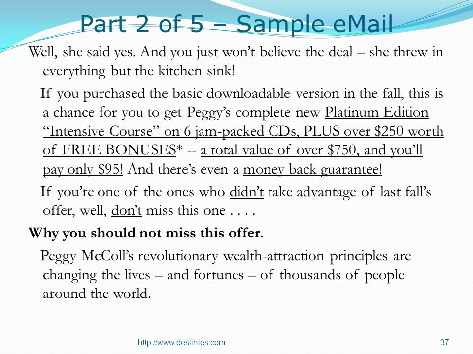 Part 2 of 5 – Sample eMail Well, she said yes.