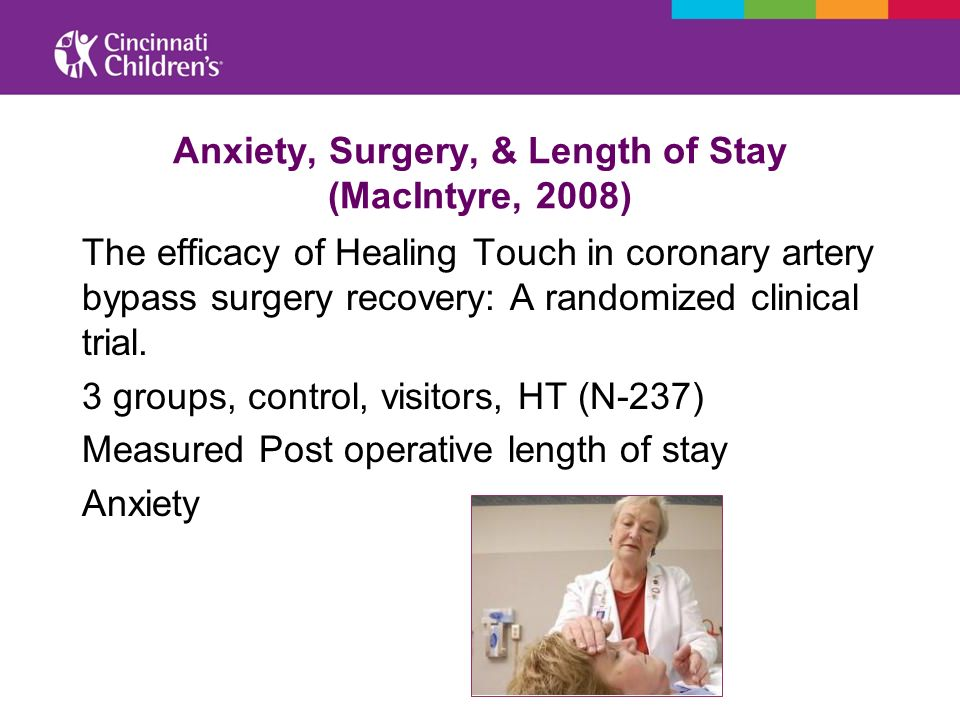 Anxiety, Surgery, & Length of Stay (MacIntyre, 2008) The efficacy of Healing Touch in coronary artery bypass surgery recovery: A randomized clinical t