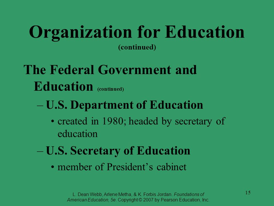 15 Organization for Education (continued) The Federal Government and Education (continued) –U.S. Department of Education created in 1980; headed by se