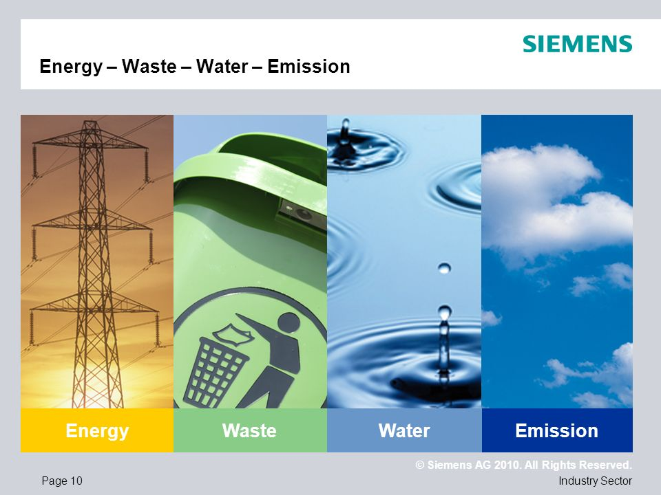 © Siemens AG 2010. All Rights Reserved. Industry SectorPage 10 Energy – Waste – Water – Emission EnergyWasteEmissionWater