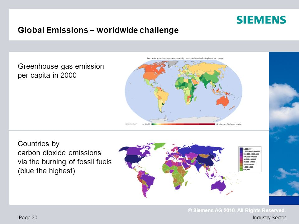 © Siemens AG 2010. All Rights Reserved. Industry SectorPage 30 Global Emissions – worldwide challenge Countries by carbon dioxide emissions via the bu