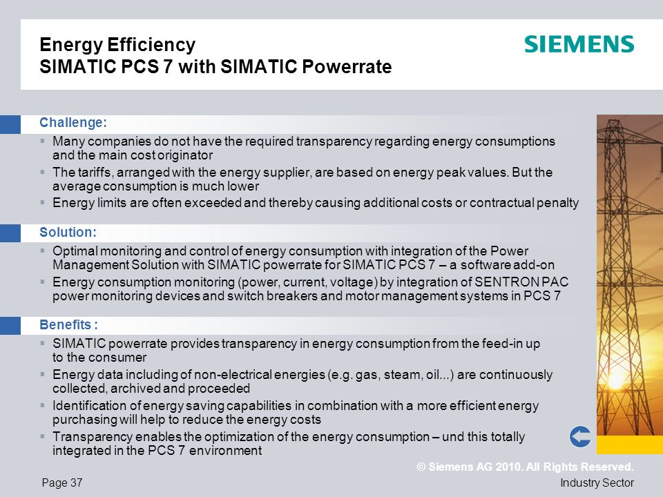 © Siemens AG 2010. All Rights Reserved. Industry SectorPage 37 Energy Efficiency SIMATIC PCS 7 with SIMATIC Powerrate Challenge: Many companies do not