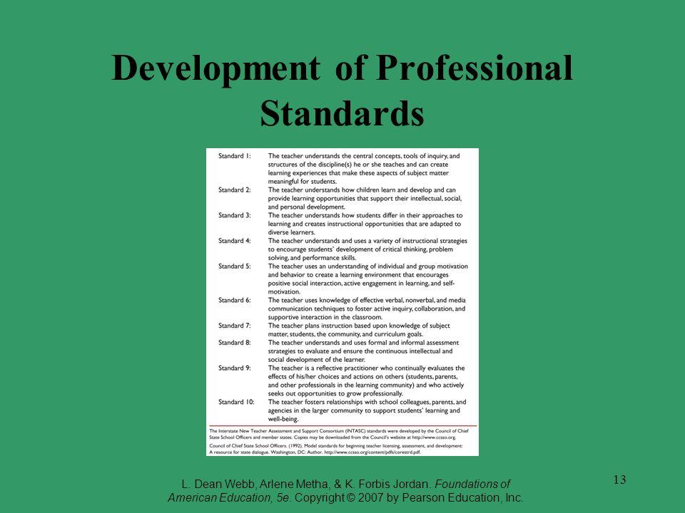 13 Development of Professional Standards L. Dean Webb, Arlene Metha, & K. Forbis Jordan. Foundations of American Education, 5e. Copyright © 2007 by Pe