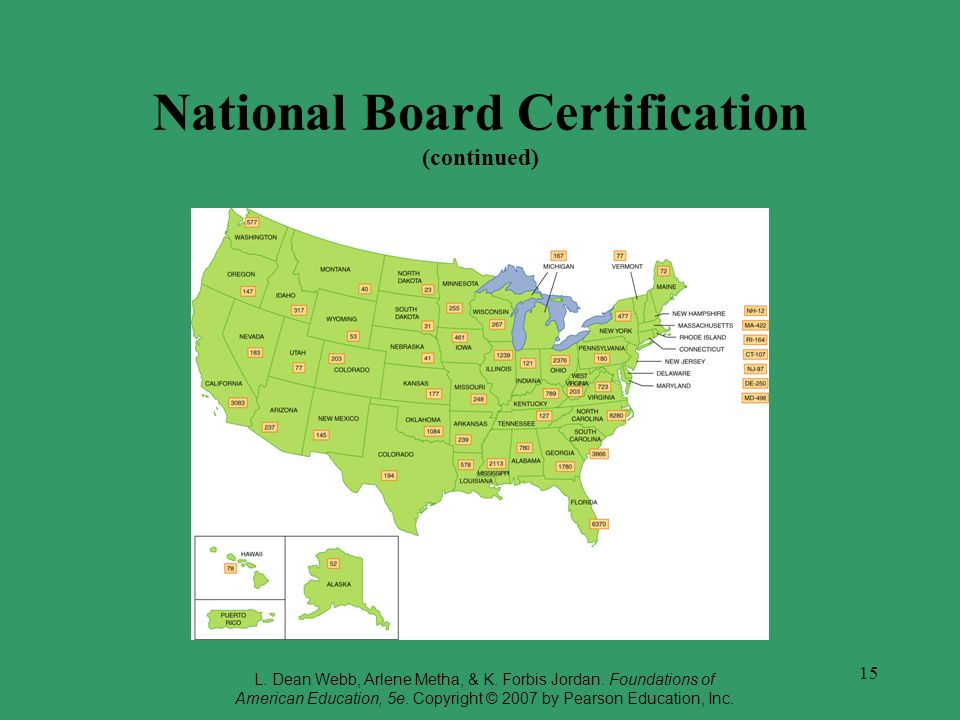 15 National Board Certification (continued) L.Dean Webb, Arlene Metha, & K.