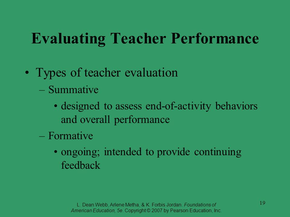 19 Evaluating Teacher Performance Types of teacher evaluation –Summative designed to assess end-of-activity behaviors and overall performance –Formative ongoing; intended to provide continuing feedback L.