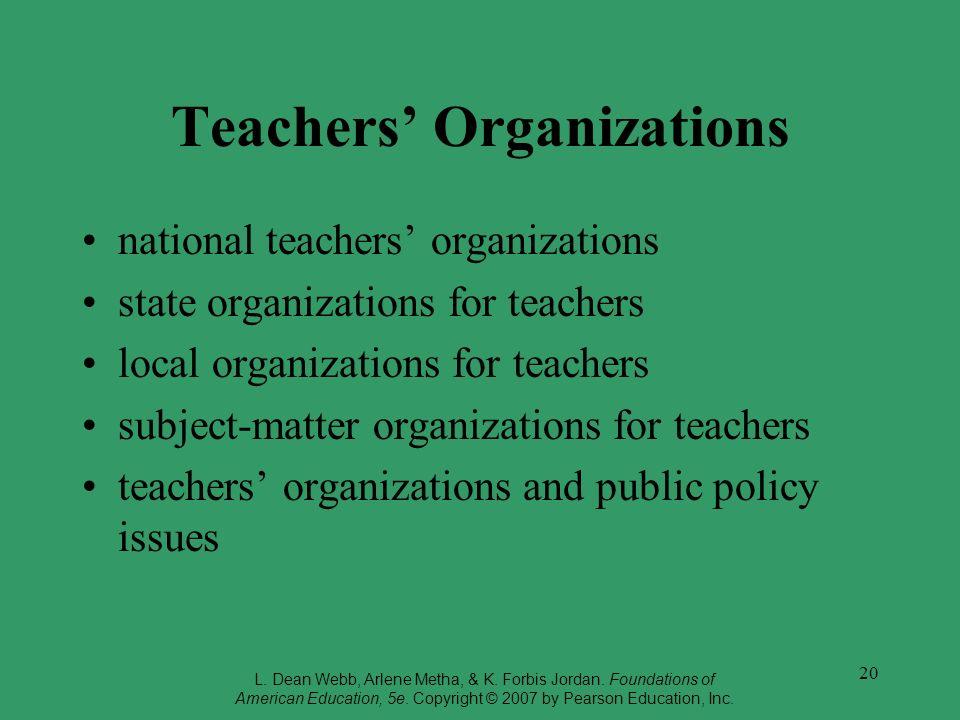 20 Teachers Organizations national teachers organizations state organizations for teachers local organizations for teachers subject-matter organizatio
