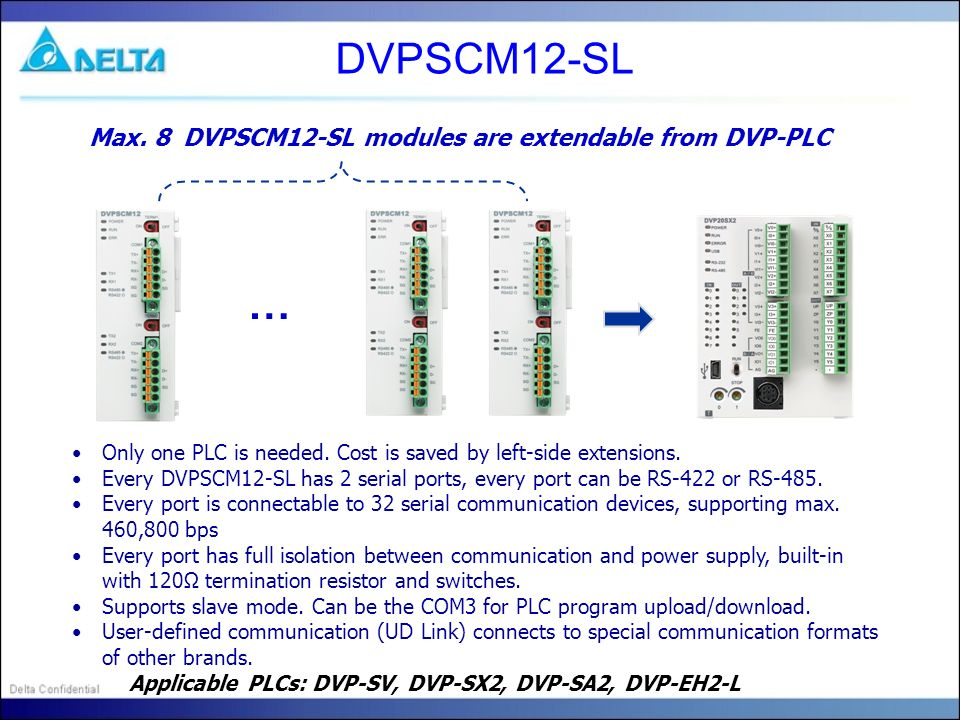 DVPSCM12-SL … Max. 8 DVPSCM12-SL modules are extendable from DVP-PLC Only one PLC is needed. Cost is saved by left-side extensions. Every DVPSCM12-SL