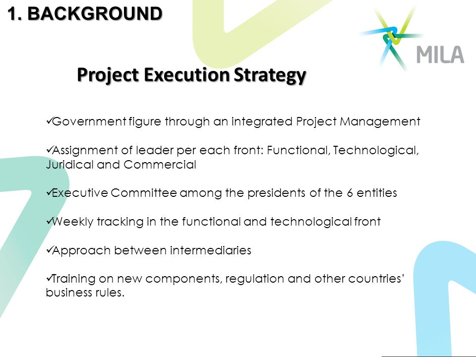 Government figure through an integrated Project Management Assignment of leader per each front: Functional, Technological, Juridical and Commercial Executive Committee among the presidents of the 6 entities Weekly tracking in the functional and technological front Approach between intermediaries Training on new components, regulation and other countries business rules.