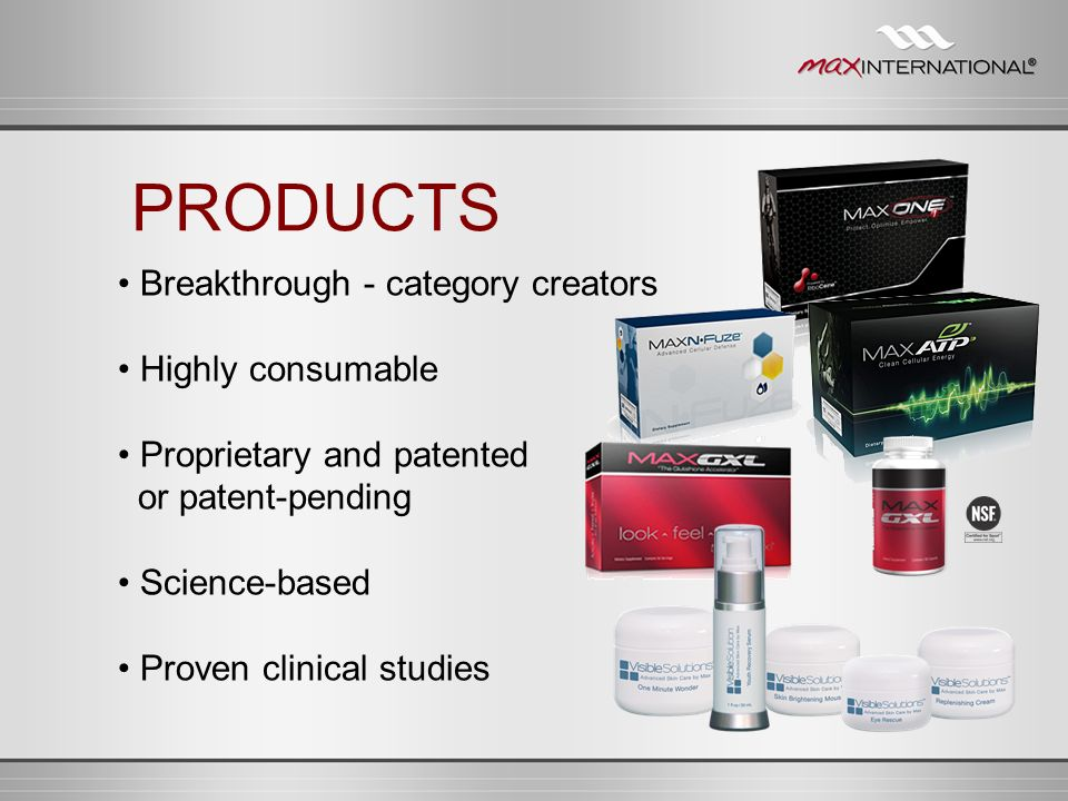 Breakthrough - category creators Highly consumable Proprietary and patented or patent-pending Science-based Proven clinical studies PRODUCTS