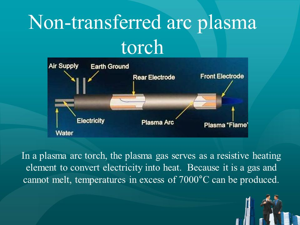 Non-transferred arc plasma torch In a plasma arc torch, the plasma gas serves as a resistive heating element to convert electricity into heat. Because