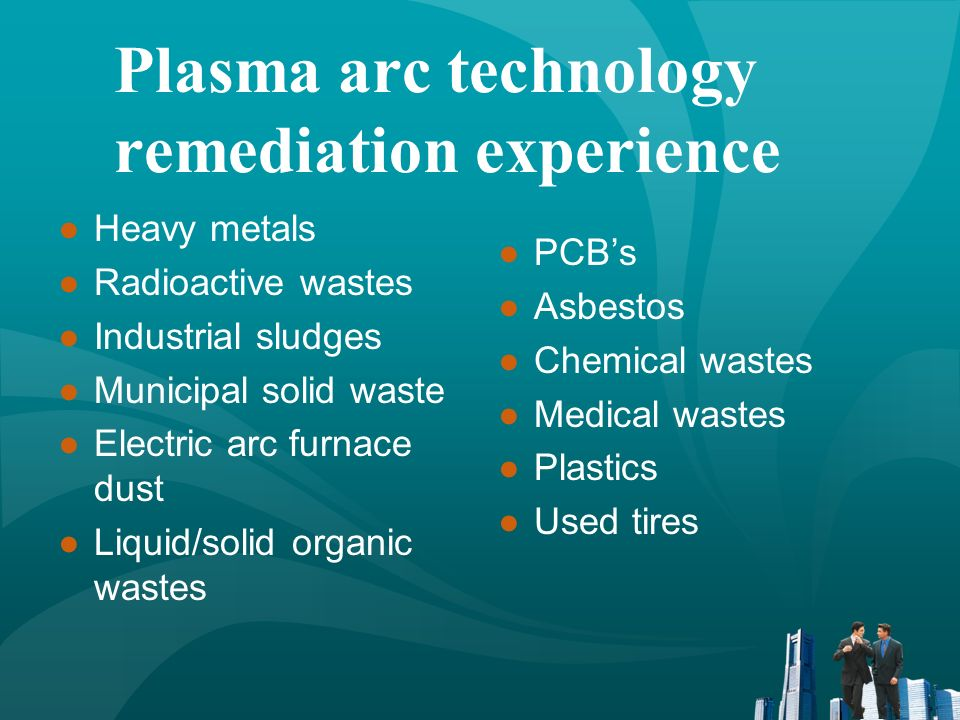 Plasma arc technology remediation experience Heavy metals Radioactive wastes Industrial sludges Municipal solid waste Electric arc furnace dust Liquid