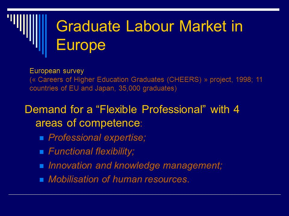 Graduate Labour Market in Europe Demand for a Flexible Professional with 4 areas of competence : Professional expertise; Functional flexibility; Innovation and knowledge management; Mobilisation of human resources.