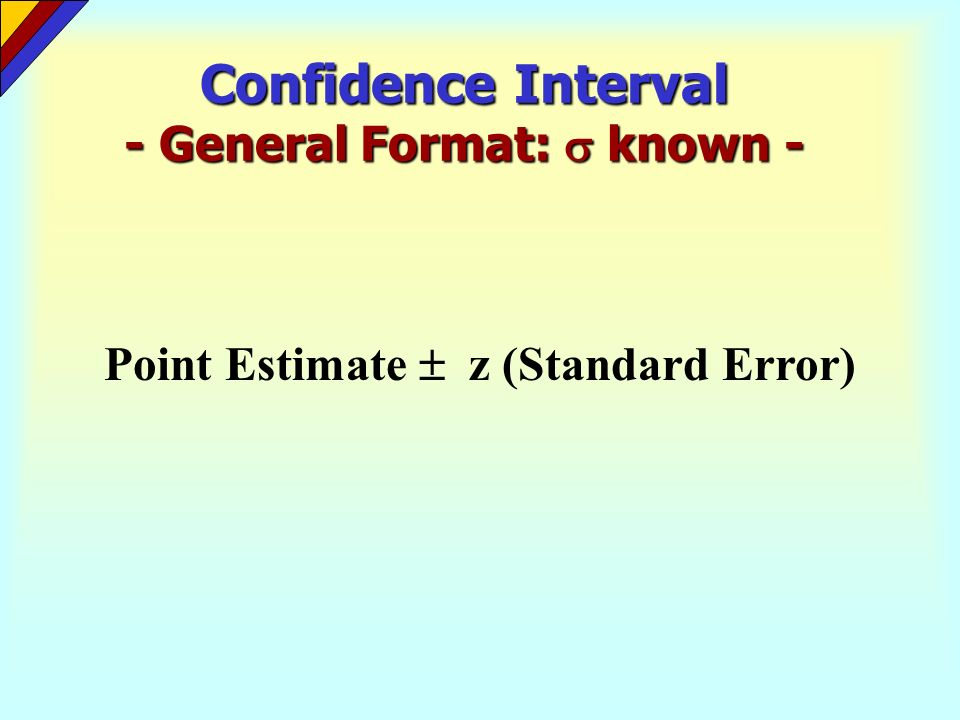 Confidence Interval - General Format: known - Point Estimate z (Standard Error)
