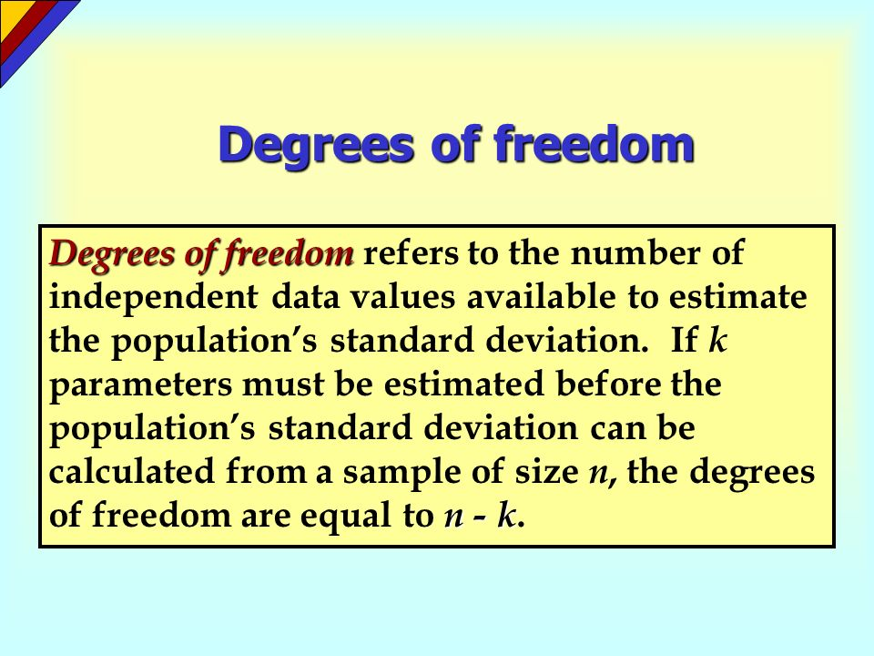 Degrees of freedom Degrees of freedom n - k Degrees of freedom refers to the number of independent data values available to estimate the populations s