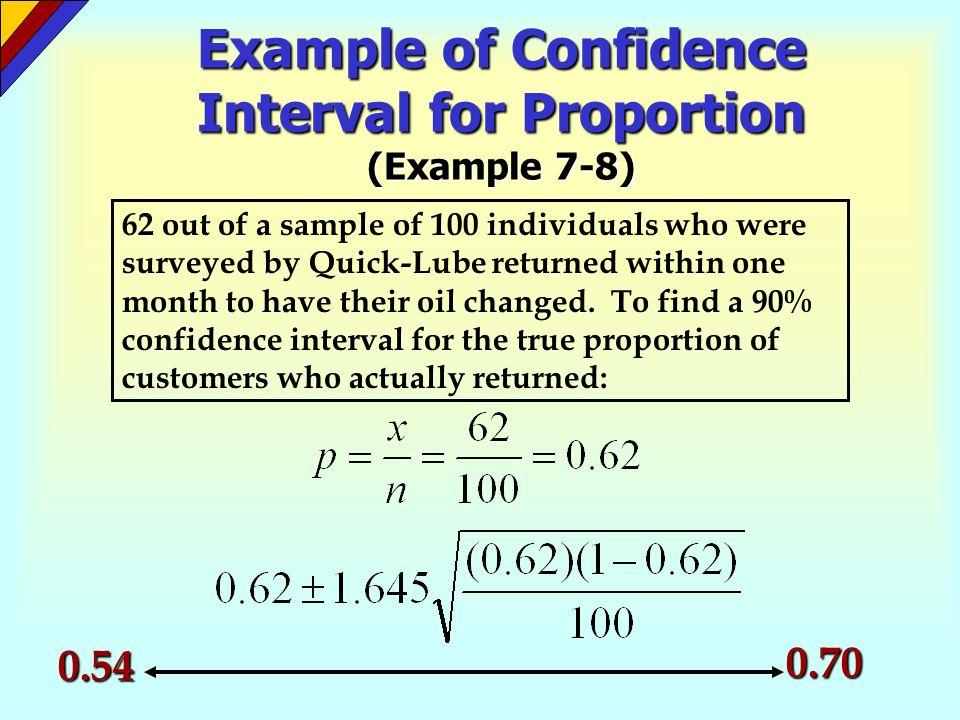 Example of Confidence Interval for Proportion (Example 7-8) 62 out of a sample of 100 individuals who were surveyed by Quick-Lube returned within one