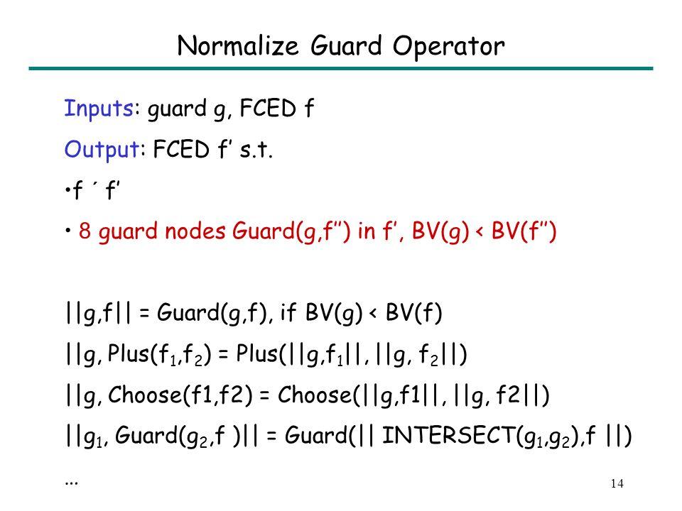 13 FCED Construction FCED(y) = Leaf(y) FCED(q) = Leaf(q) FCED(e1+e2) = Plus (FCED(e1), FCED(e2)) FCED(q £ e) = Times(q,FCED(e)) FCED(if b then e1 else e2) = Choose(||R(b),FCED(e1)||, ||NOT R(b), FCED(e2)||)