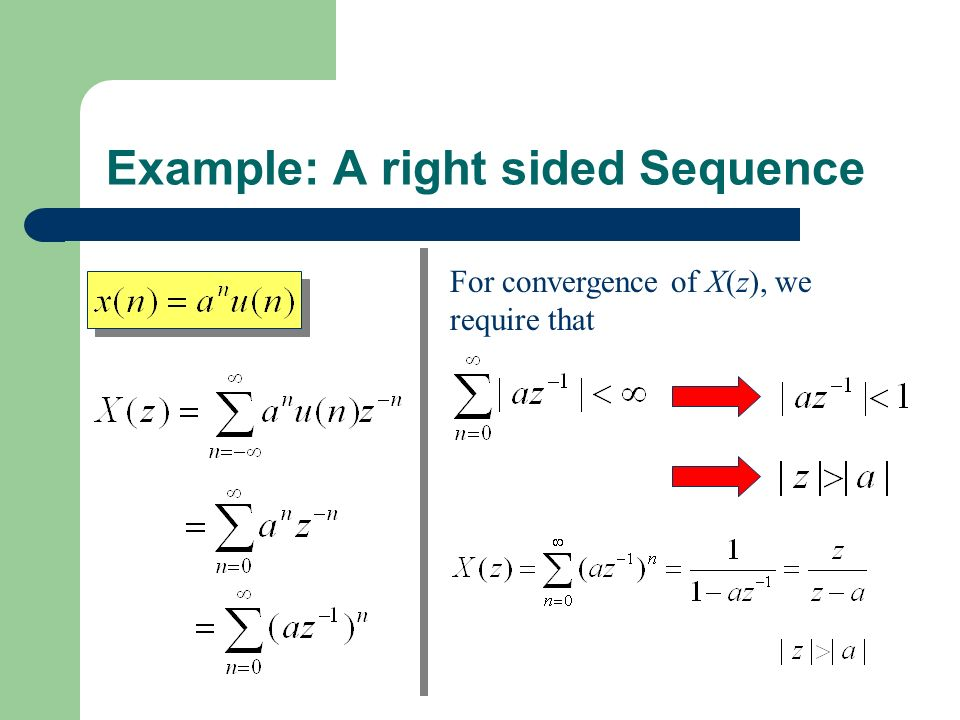 Example: A right sided Sequence For convergence of X(z), we require that