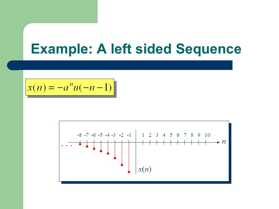 Example: A left sided Sequence n x(n)x(n)...