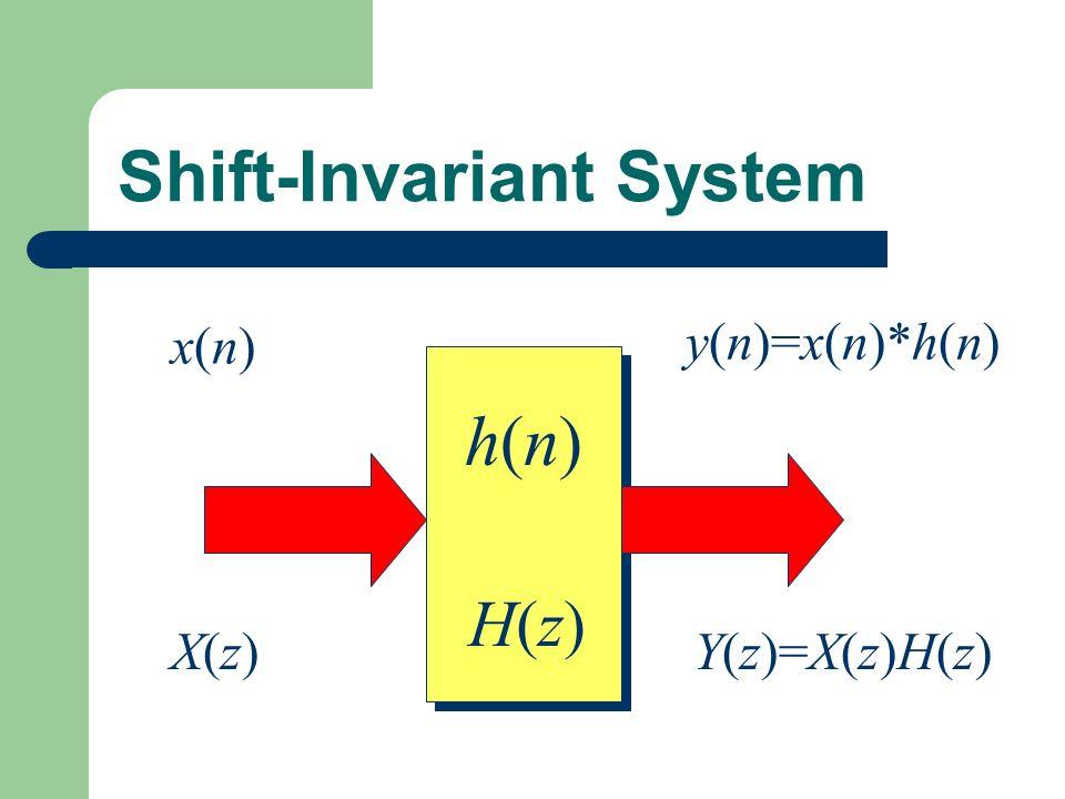 Shift-Invariant System h(n)h(n) h(n)h(n) x(n)x(n) y(n)=x(n)*h(n) X(z)X(z)Y(z)=X(z)H(z) H(z)H(z)
