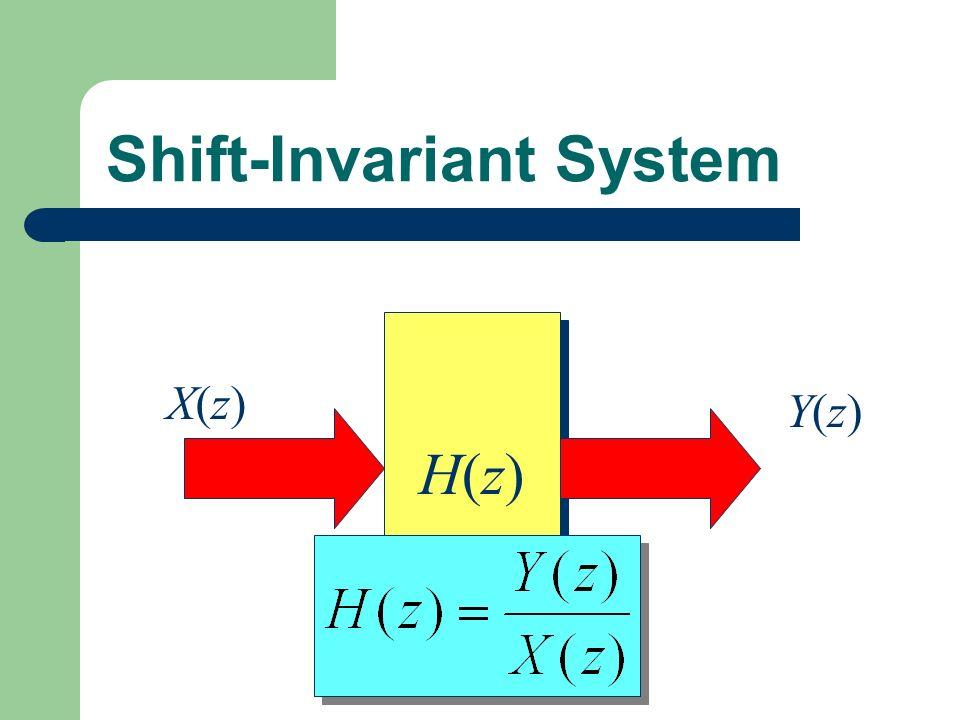 Shift-Invariant System H(z)H(z) H(z)H(z) X(z)X(z) Y(z)Y(z)