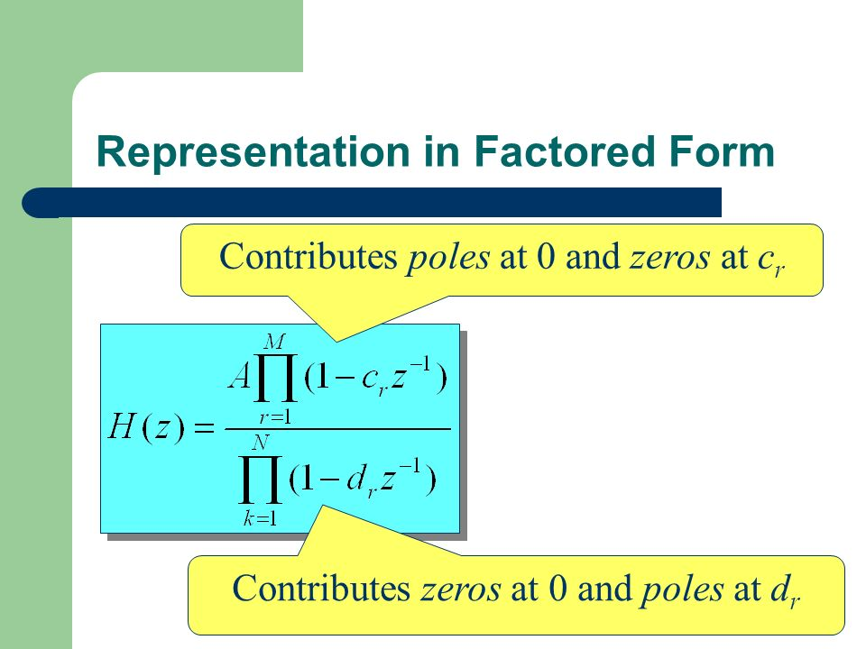 Representation in Factored Form Contributes poles at 0 and zeros at c r Contributes zeros at 0 and poles at d r