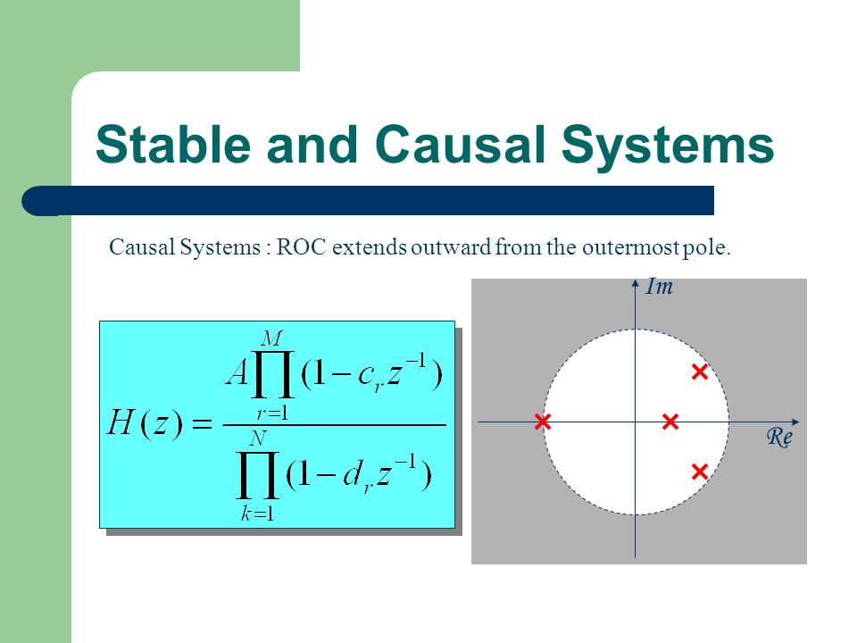 Stable and Causal Systems Re Im Causal Systems : ROC extends outward from the outermost pole.