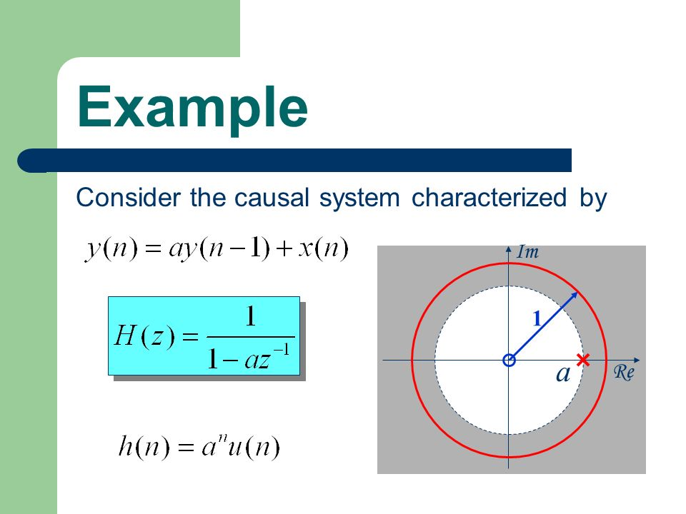 Example Consider the causal system characterized by Re Im 1 a