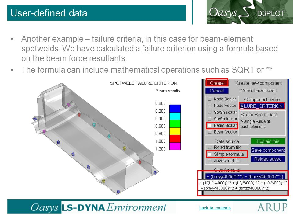 back to contents Another example – failure criteria, in this case for beam-element spotwelds. We have calculated a failure criterion using a formula b