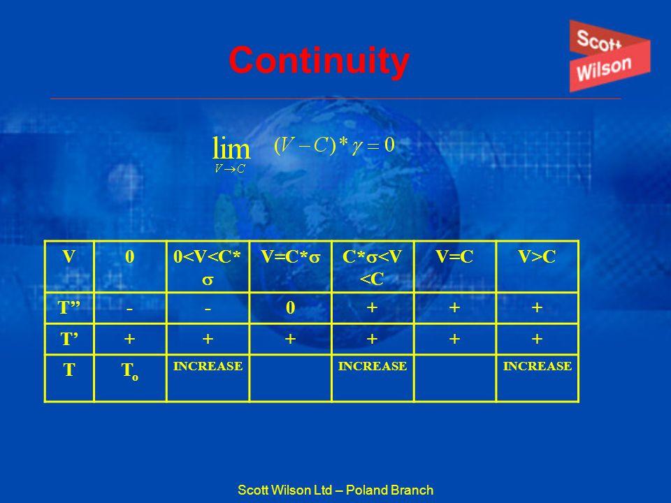 Scott Wilson Ltd – Poland Branch Continuity V00<V<C* V=C* C* <V <C V=CV>C T--0+++ T++++++ TToTo INCREASE