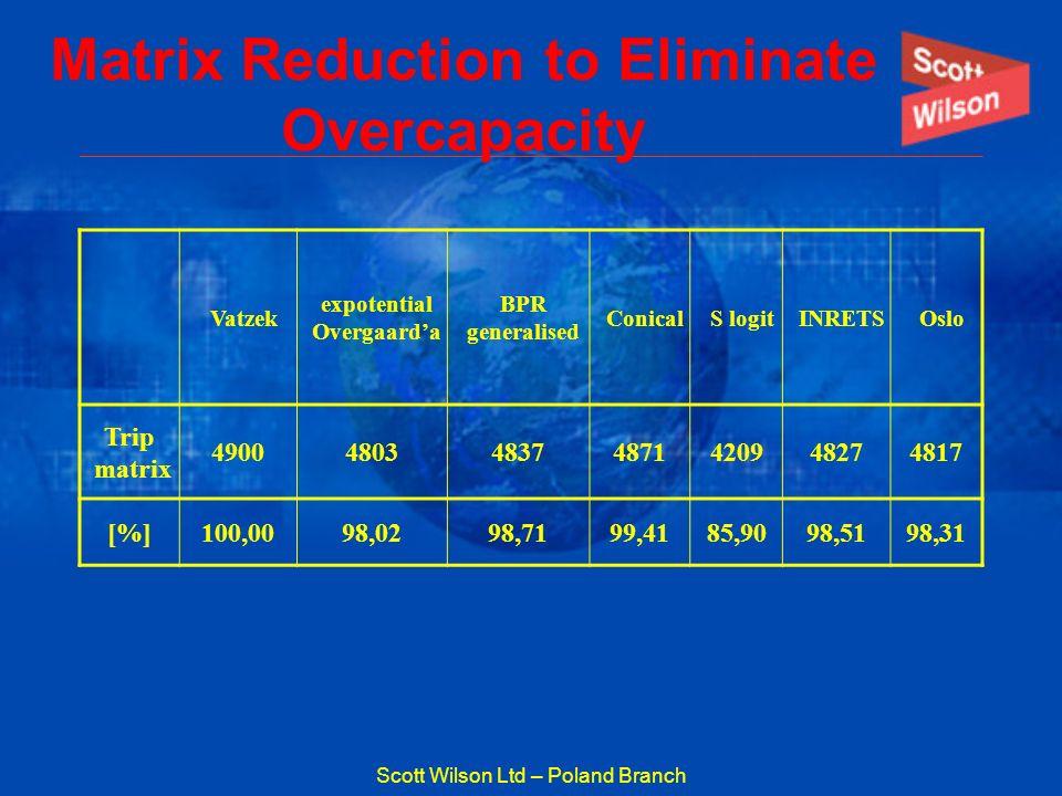 Scott Wilson Ltd – Poland Branch Matrix Reduction to Eliminate Overcapacity Vatzek expotential Overgaarda BPR generalised ConicalS logitINRETSOslo Tri