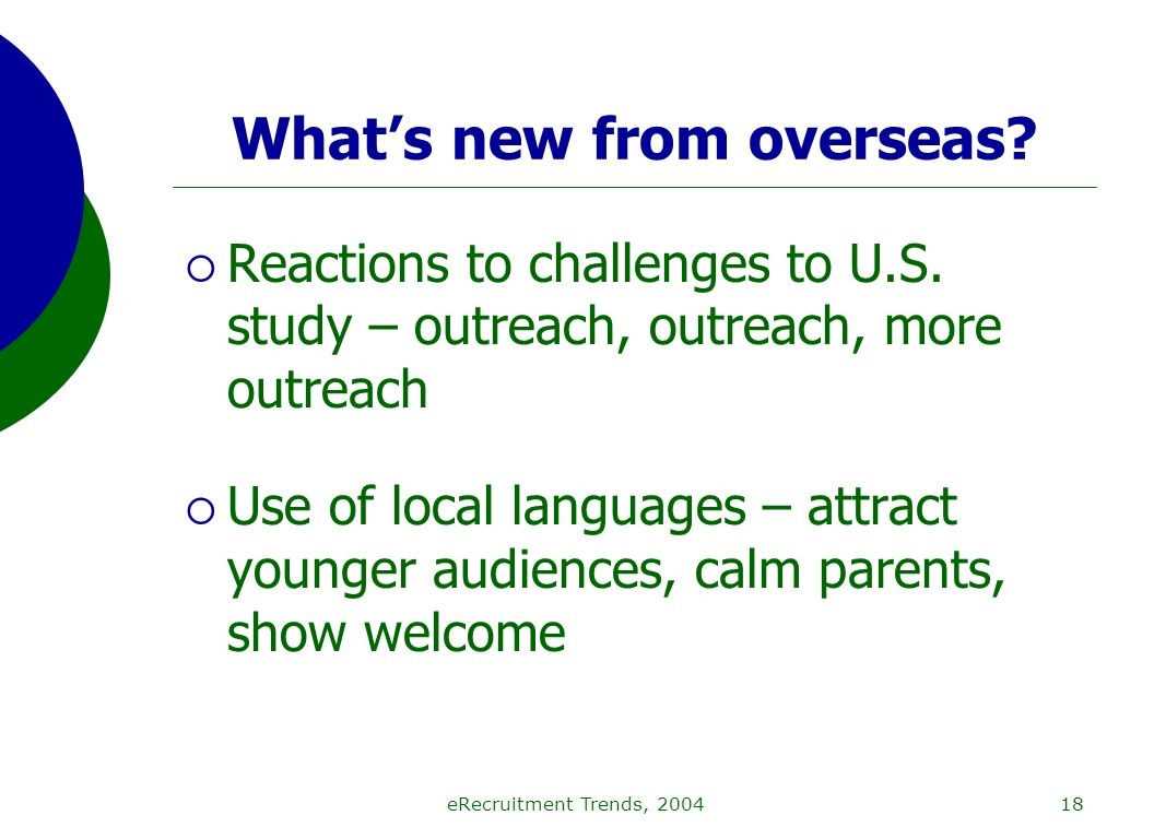 eRecruitment Trends, 200418 Whats new from overseas.