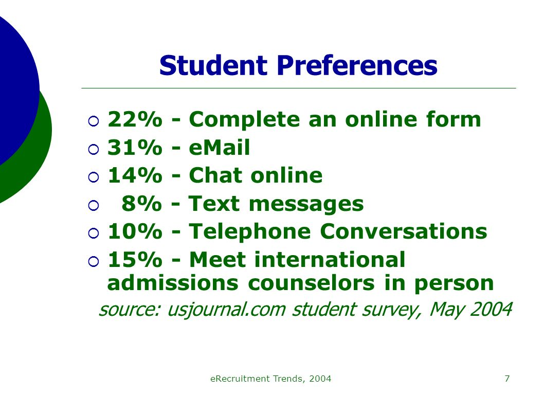 eRecruitment Trends, 20047 Student Preferences 22% - Complete an online form 31% - eMail 14% - Chat online 8% - Text messages 10% - Telephone Conversations 15% - Meet international admissions counselors in person source: usjournal.com student survey, May 2004