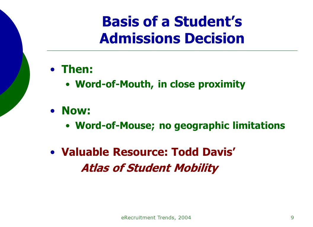 eRecruitment Trends, 20049 Basis of a Students Admissions Decision Then: Word-of-Mouth, in close proximity Now: Word-of-Mouse; no geographic limitations Valuable Resource: Todd Davis Atlas of Student Mobility