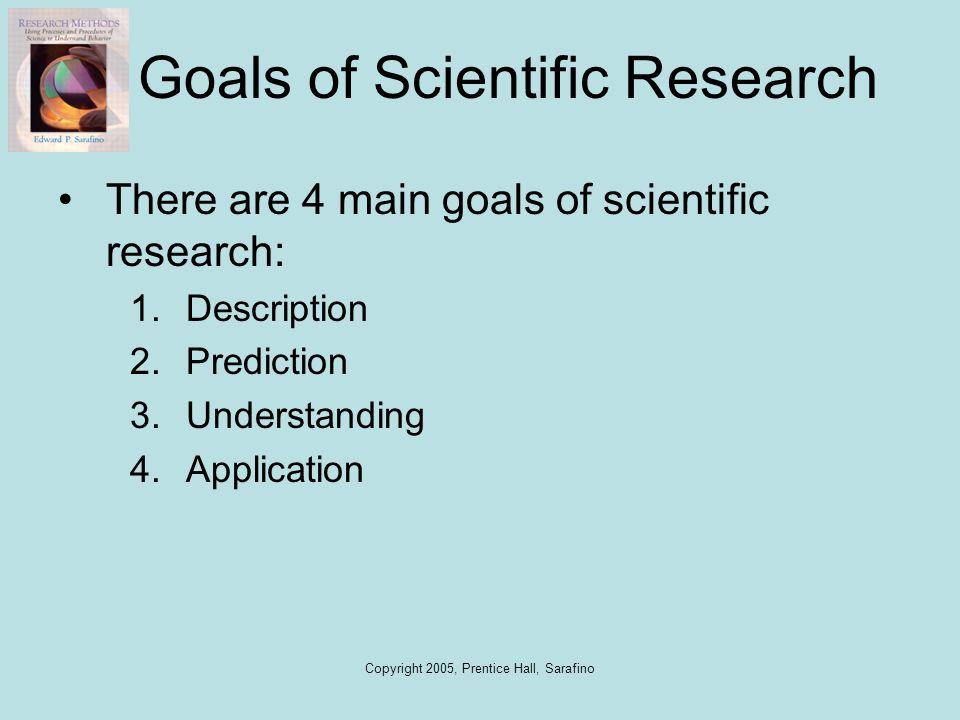 Copyright 2005, Prentice Hall, Sarafino Goals of Scientific Research There are 4 main goals of scientific research: 1.Description 2.Prediction 3.Under