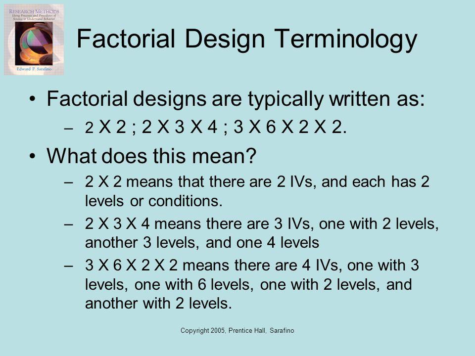 Copyright 2005, Prentice Hall, Sarafino Factorial Design Terminology Factorial designs are typically written as: –2 X 2 ; 2 X 3 X 4 ; 3 X 6 X 2 X 2. W
