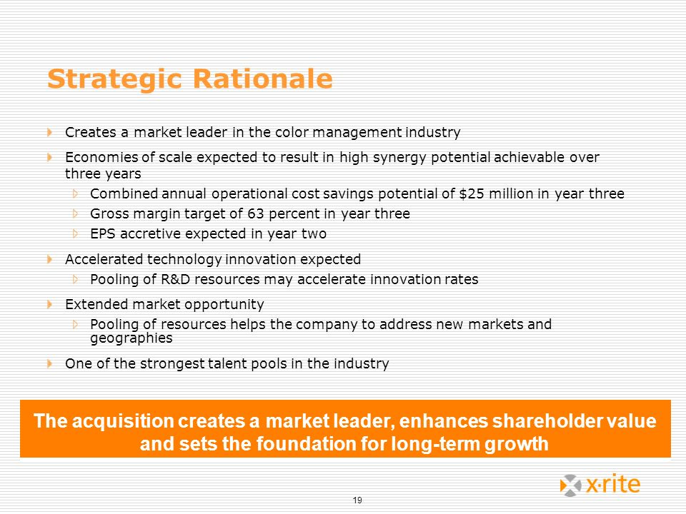 19 Strategic Rationale Creates a market leader in the color management industry Economies of scale expected to result in high synergy potential achiev