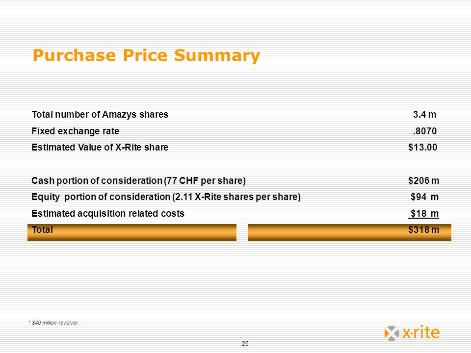26 Purchase Price Summary Total number of Amazys shares 3.4 m Fixed exchange rate.8070 Estimated Value of X-Rite share$13.00 Cash portion of considera
