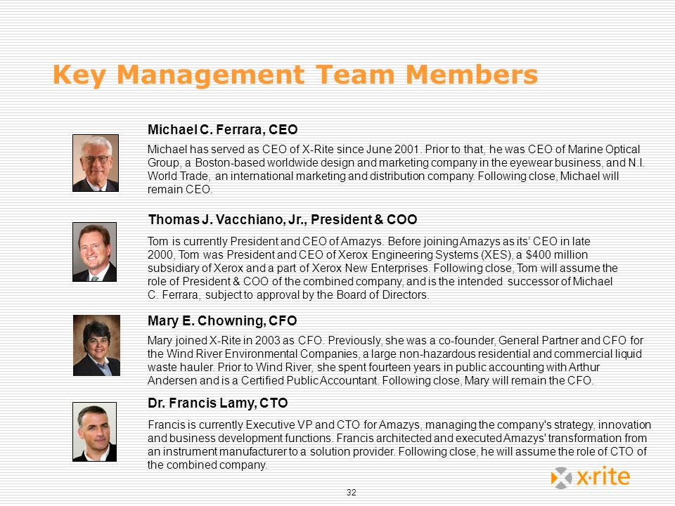 32 Key Management Team Members Thomas J. Vacchiano, Jr., President & COO Tom is currently President and CEO of Amazys. Before joining Amazys as its CE