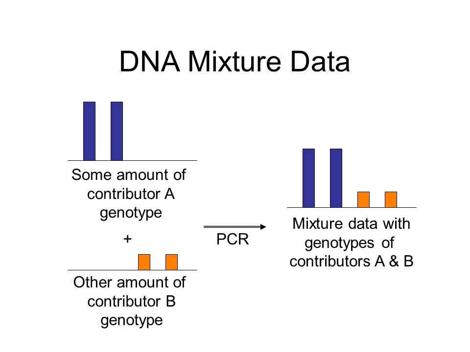 Quantitative Mixture Interpretation Step 1: infer genotype consider every possible allele pair compare pattern with DNA data Rule: better fit s more likely it high likelihood low likelihood .