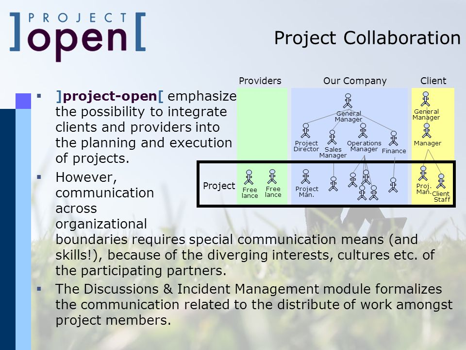 Project Collaboration ]project-open[ emphasizes the possibility to integrate clients and providers into the planning and execution of projects.