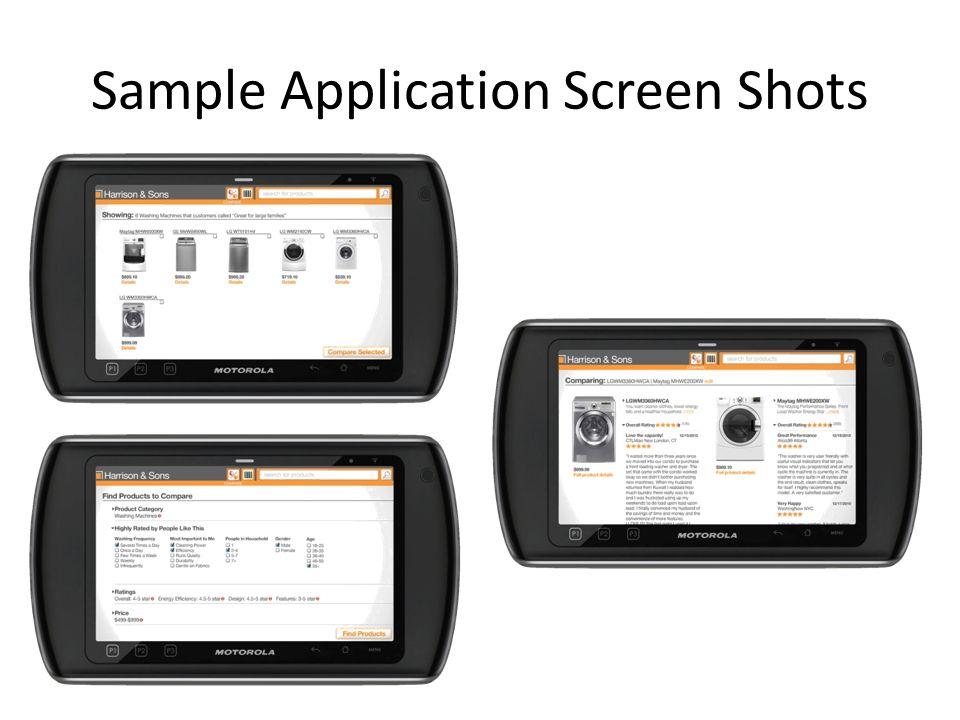 Sample Application Screen Shots
